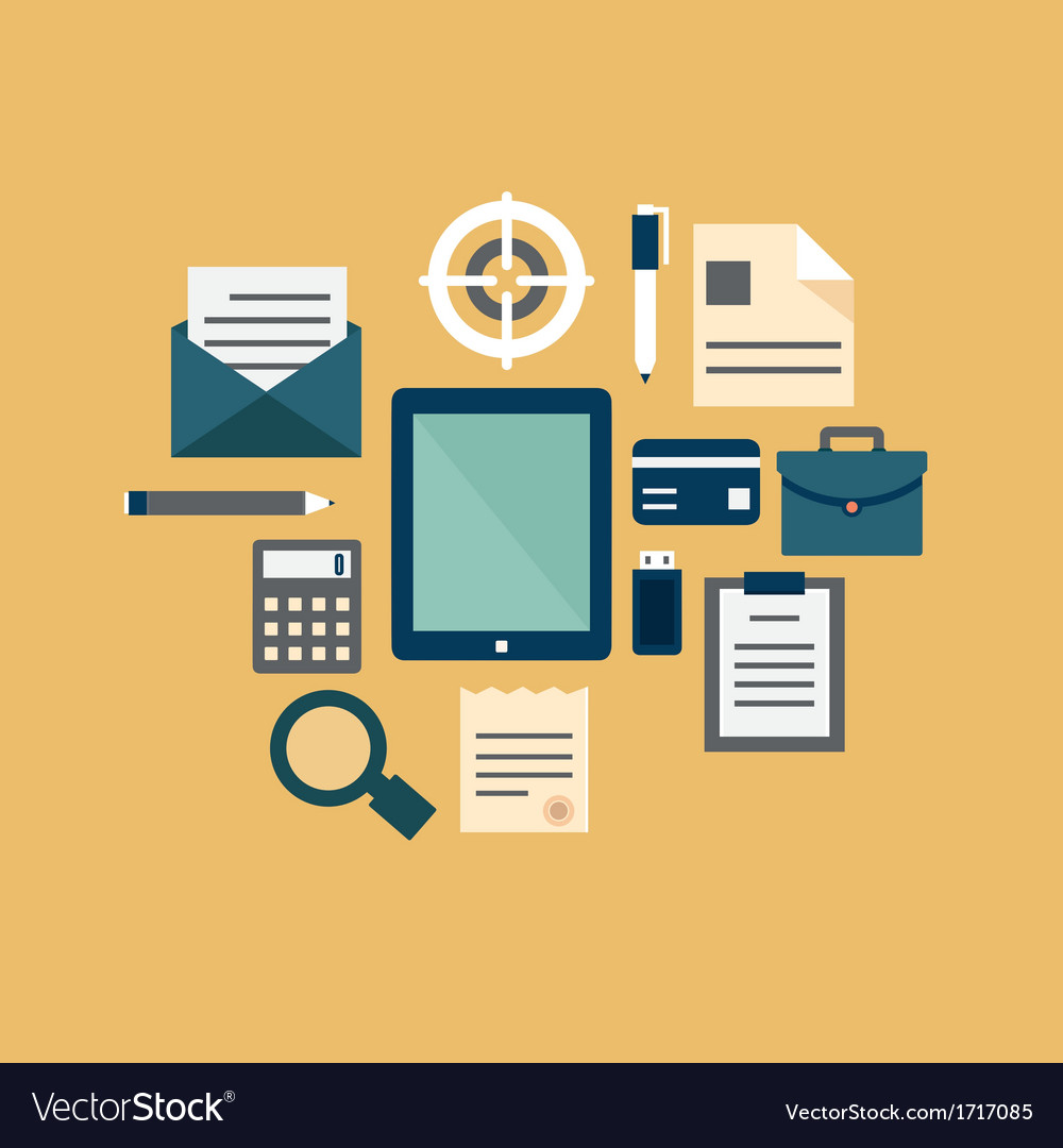 Flat concept of documents for business vector | Price: 1 Credit (USD $1)