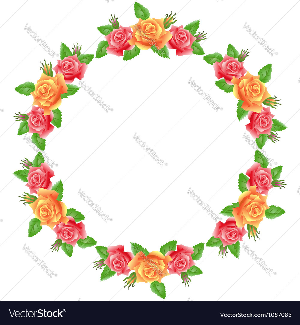 Flowers round frame vector | Price: 1 Credit (USD $1)
