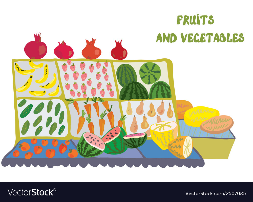 Fruits and vegetables market counter vector   Price: 1 Credit (USD $1)