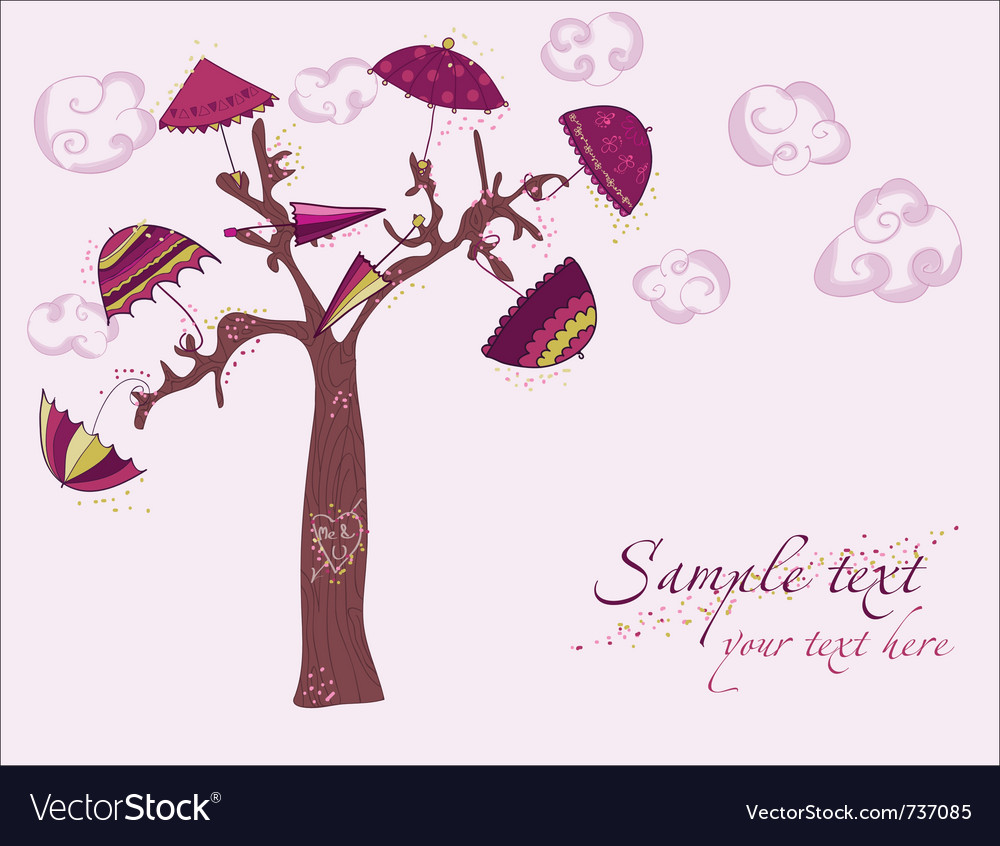 Love tree under umbrellas vector | Price: 1 Credit (USD $1)
