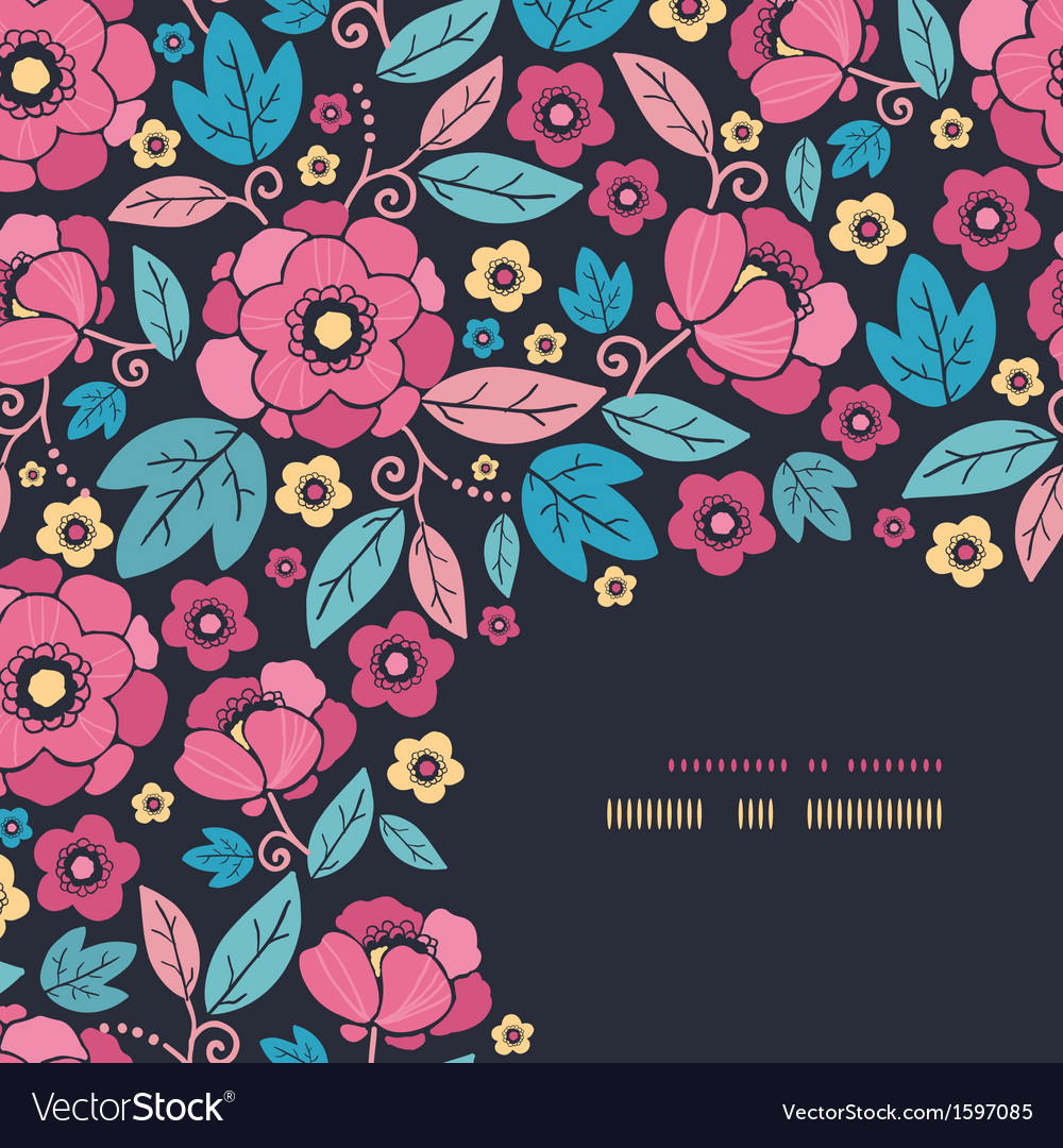 Night kimono blossom corner decor pattern vector | Price: 1 Credit (USD $1)