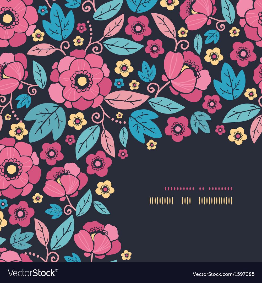 Night kimono blossom corner decor pattern vector | Price: 1 Credit (USD $1)
