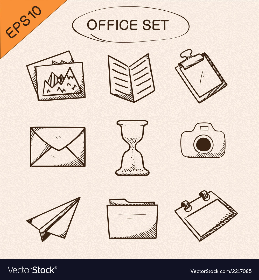 Office stationery symbols set vector | Price: 1 Credit (USD $1)