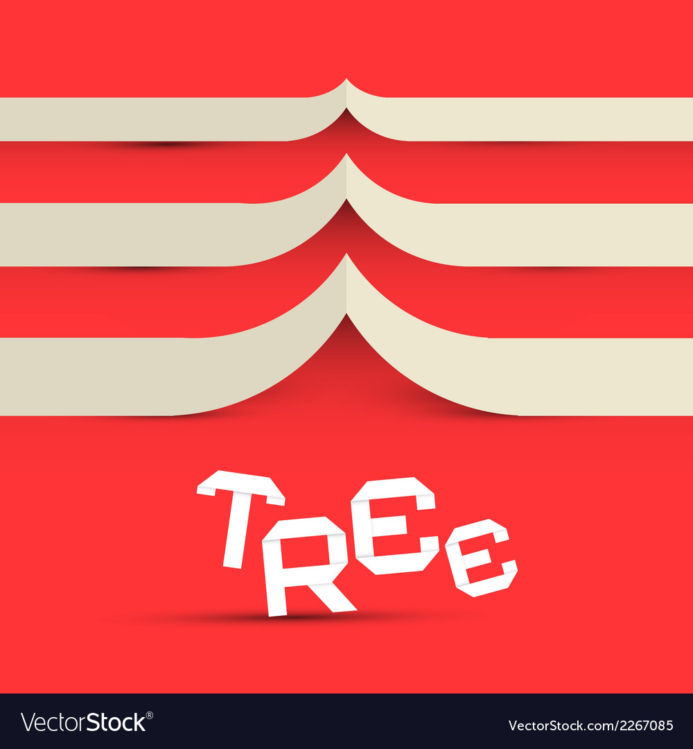 Paper tree symbol on red background vector | Price: 1 Credit (USD $1)