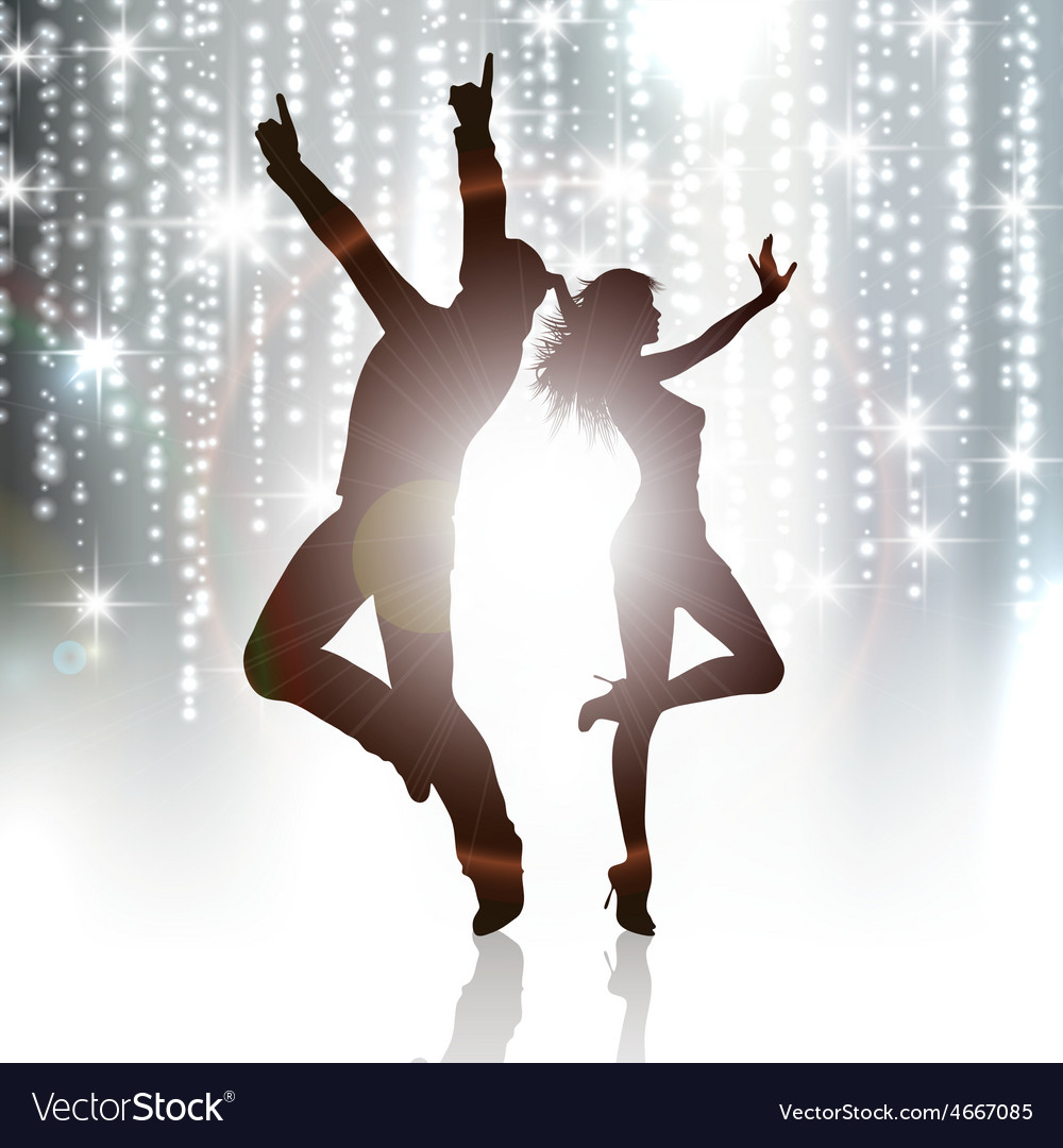 Party people on sparkle background vector