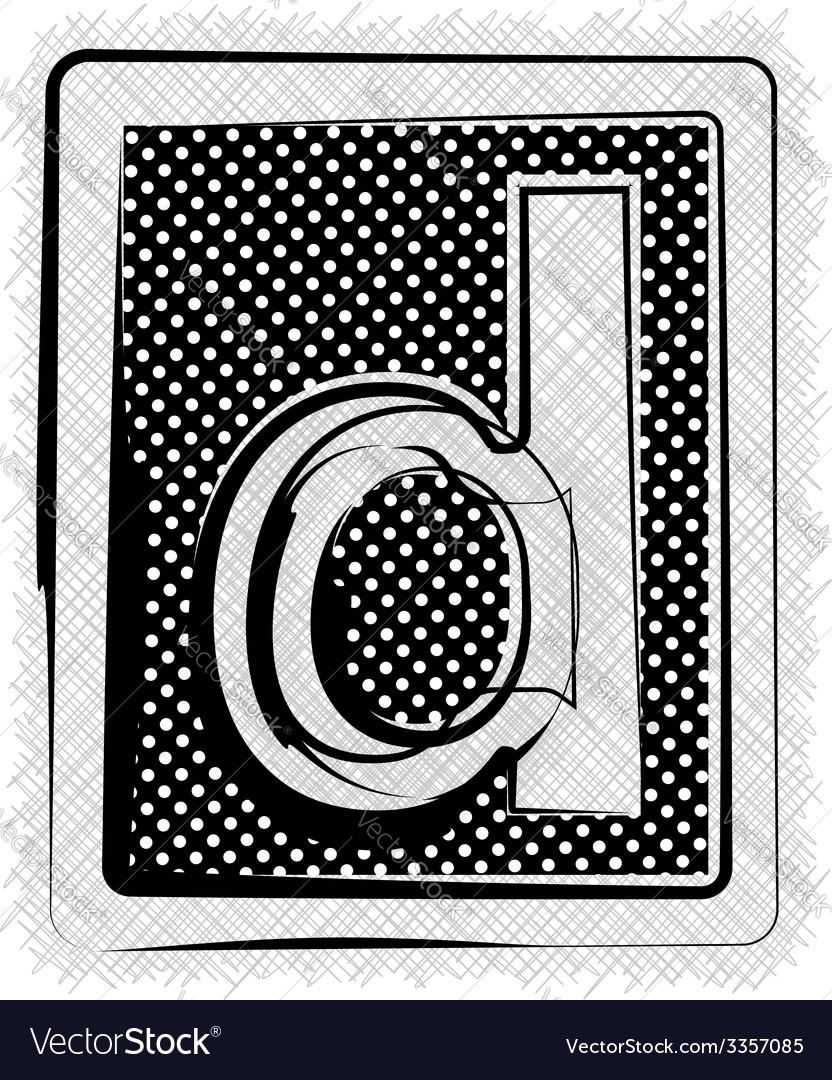 Polka dot font letter d vector | Price: 1 Credit (USD $1)