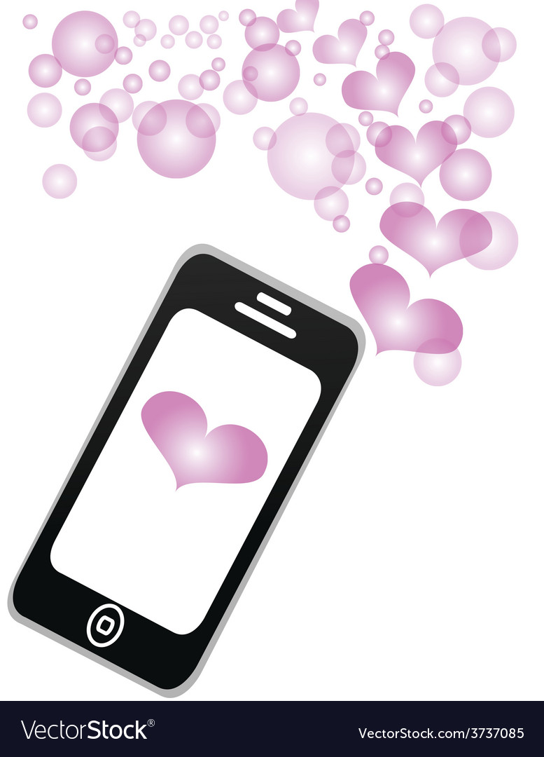 Smartphone sharing love message vector | Price: 1 Credit (USD $1)