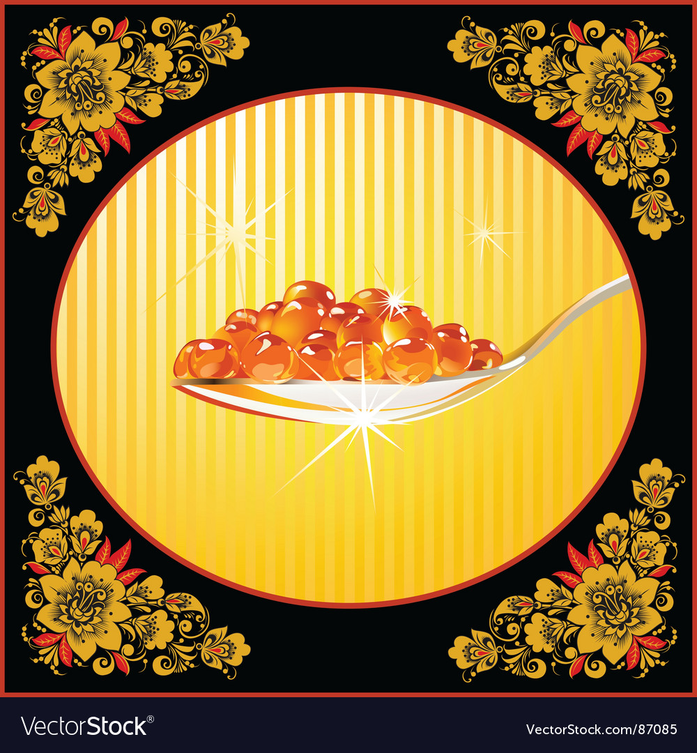 Spoon with red caviar frame vector | Price: 3 Credit (USD $3)
