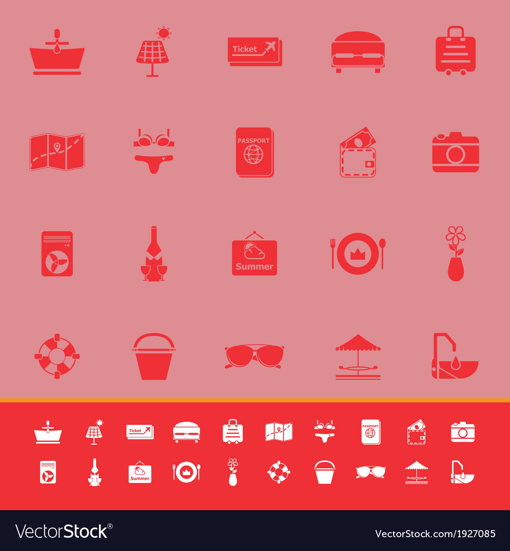 Summer color icons on red background vector | Price: 1 Credit (USD $1)