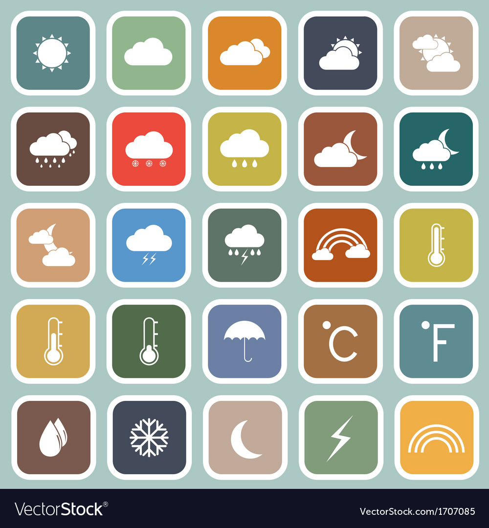 Weather flat icons on blue background vector | Price: 1 Credit (USD $1)