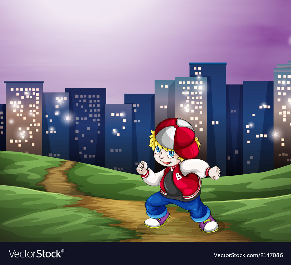 A hiphop dancer near the tall buildings vector   Price: 3 Credit (USD $3)