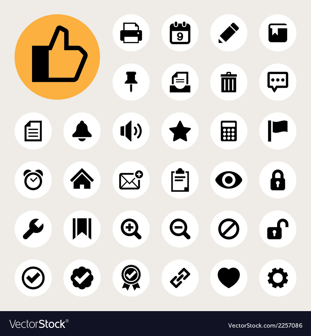 Computer and application interface icon set eps10 vector | Price: 1 Credit (USD $1)