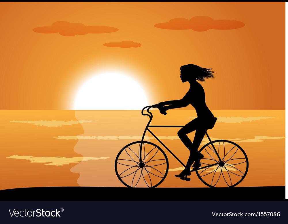 Girl on bike vector | Price: 1 Credit (USD $1)
