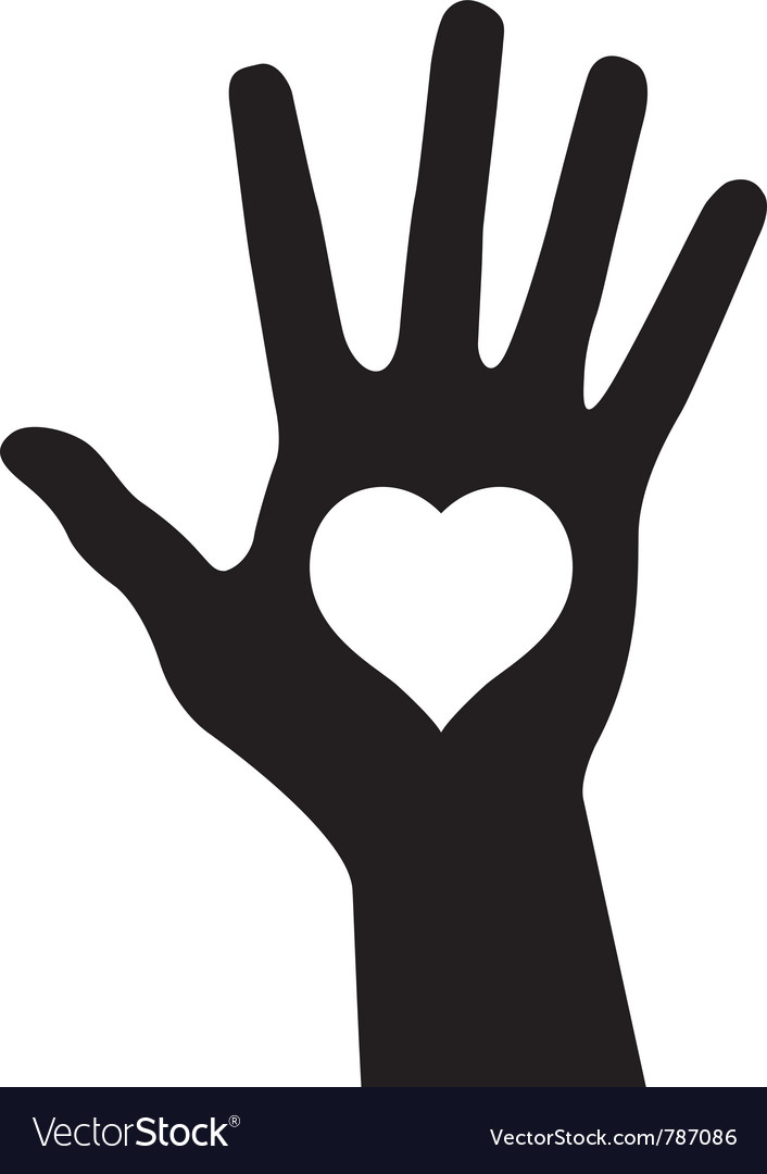 Hand with heart vector | Price: 1 Credit (USD $1)