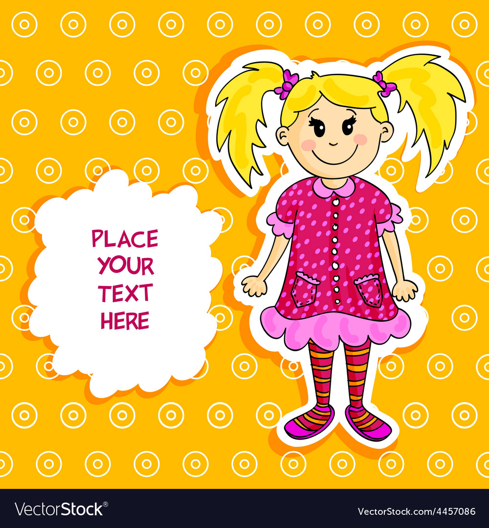 Little blond girl card vector | Price: 1 Credit (USD $1)