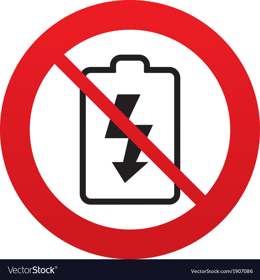 No battery charging sign icon lightning symbol vector | Price: 1 Credit (USD $1)