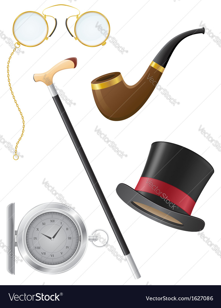 Retro mens accessories 19th century vector | Price: 1 Credit (USD $1)