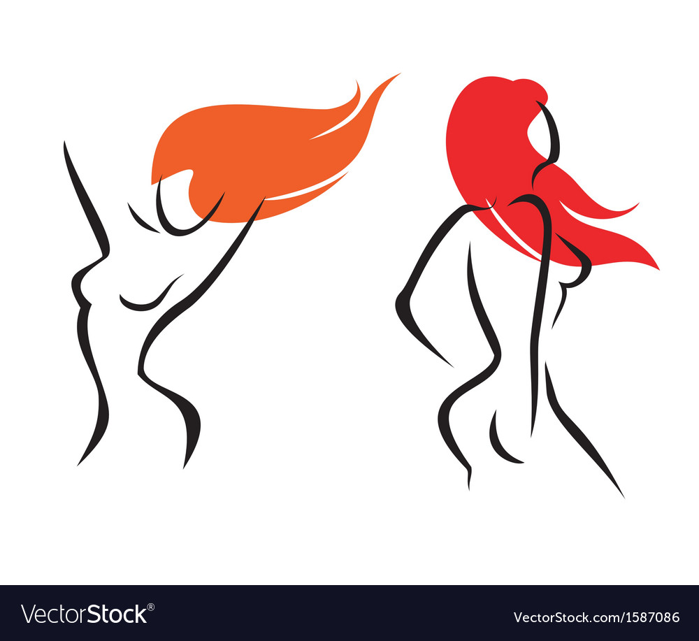 Sexy women isolated symbols set vector | Price: 1 Credit (USD $1)