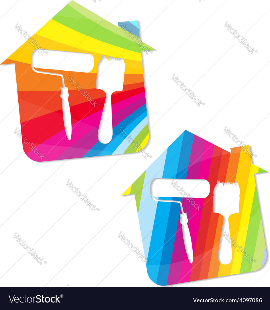 Symbol painted houses vector | Price: 1 Credit (USD $1)