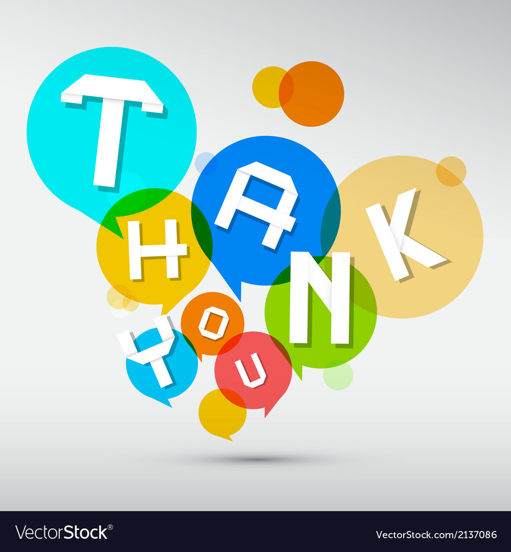 Thank you paper title in colorful circles isolated vector | Price: 1 Credit (USD $1)
