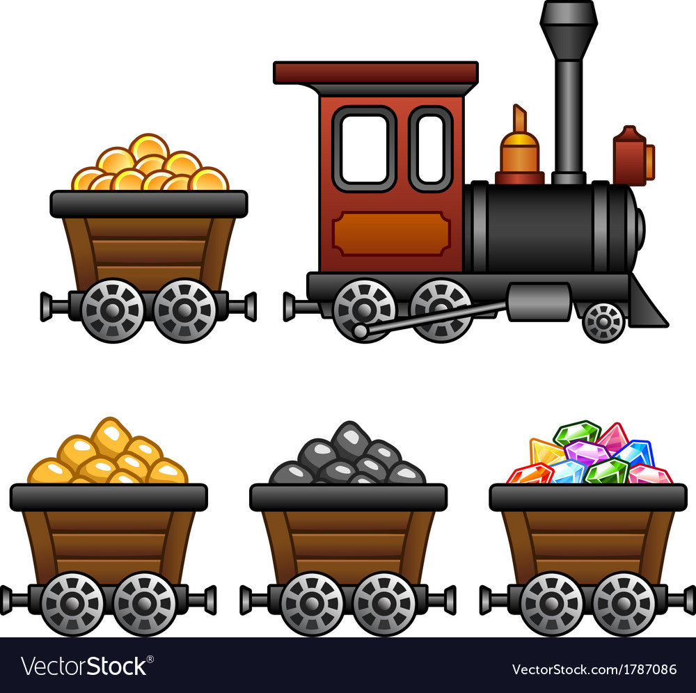 Train with mine tubs vector | Price: 1 Credit (USD $1)