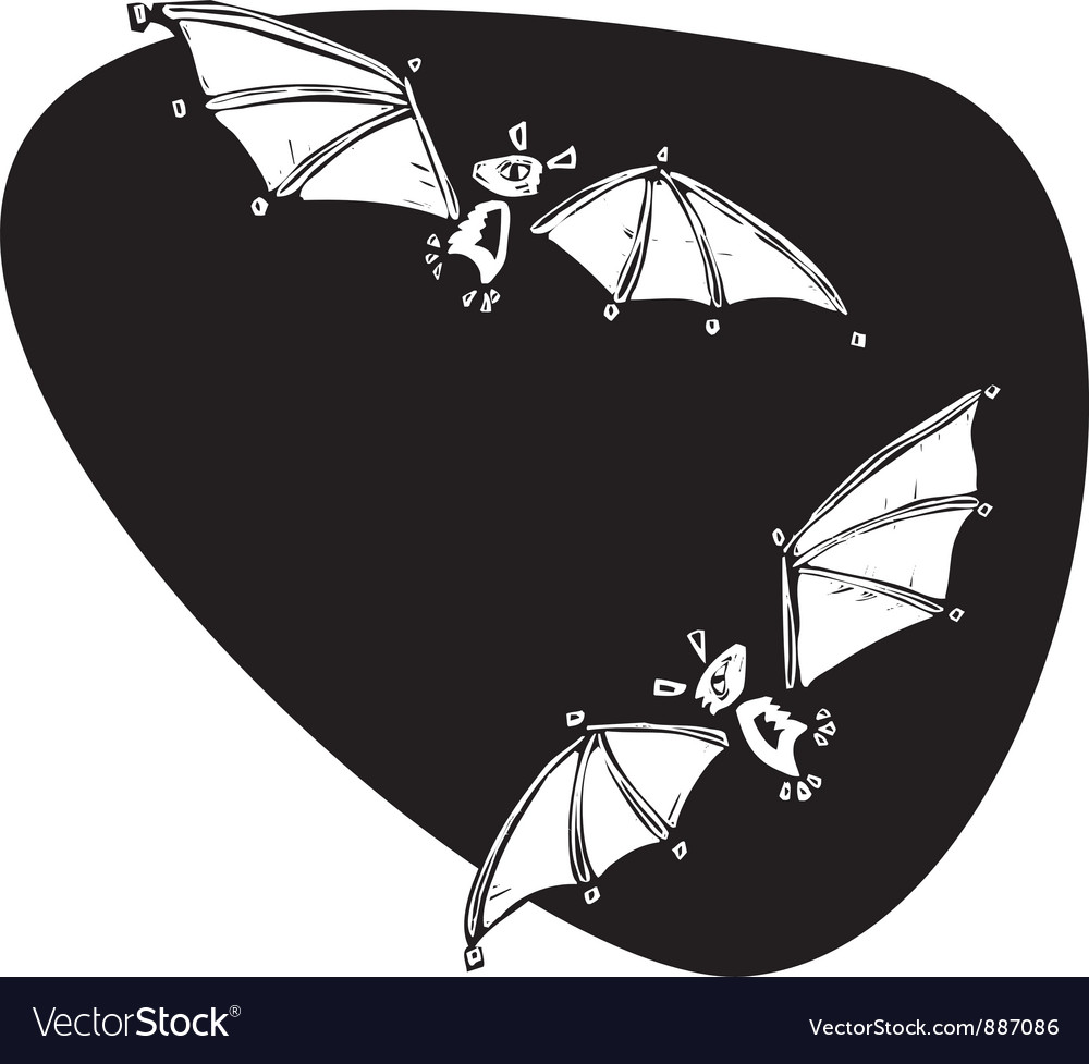Two bats flying vector | Price: 1 Credit (USD $1)