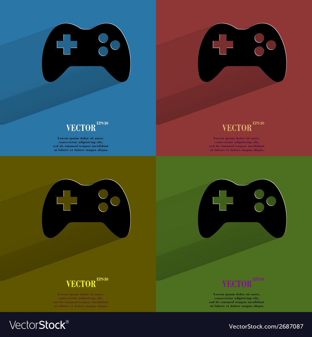 Color set gaming joystick flat modern web button vector | Price: 1 Credit (USD $1)