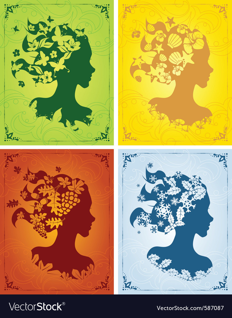 Colorful seasonal womens profiles vector | Price: 1 Credit (USD $1)