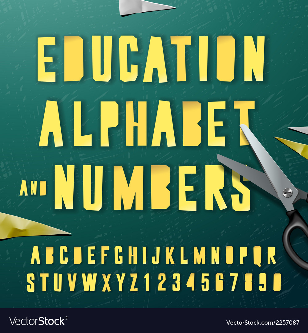 Education alphabet and numbers cut out from paper vector | Price: 1 Credit (USD $1)