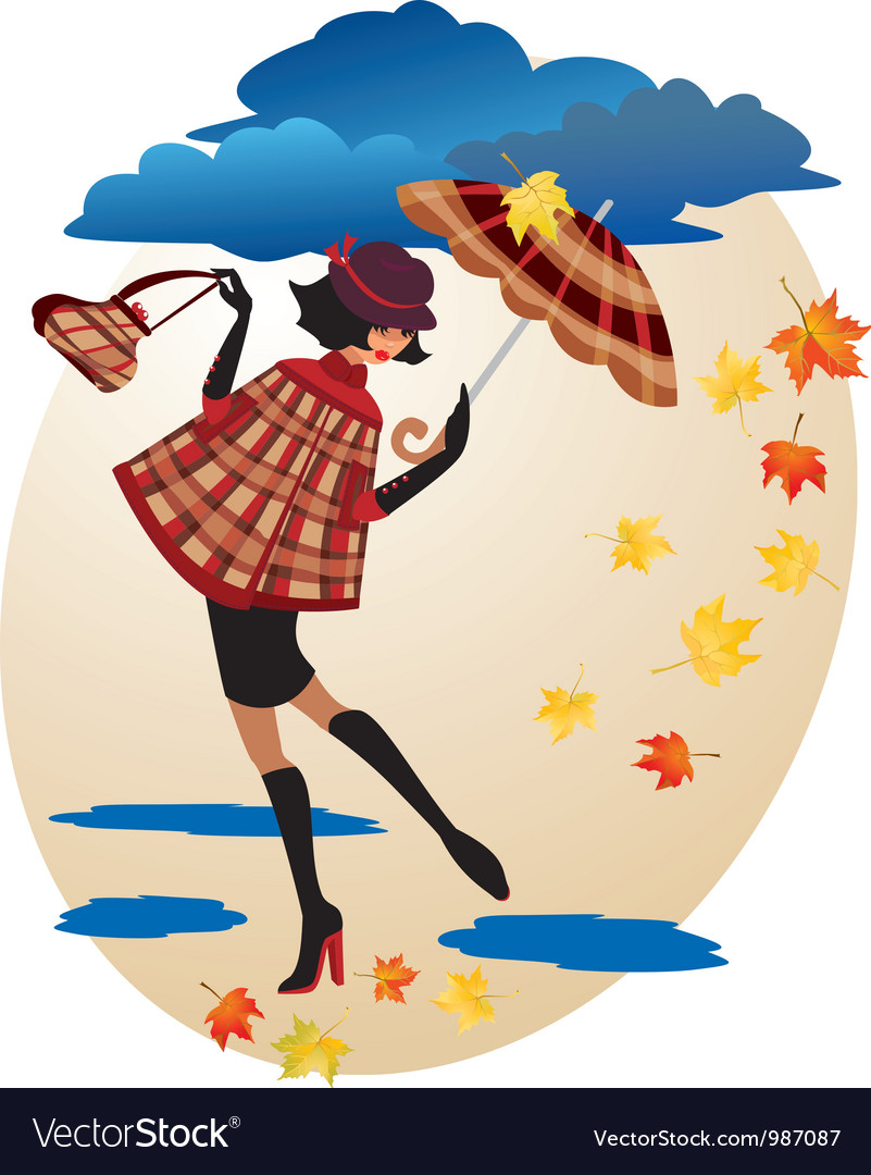 English girl in checkered coat vector | Price: 3 Credit (USD $3)