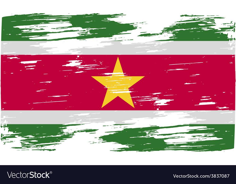 Flag of suriname with old texture vector | Price: 1 Credit (USD $1)
