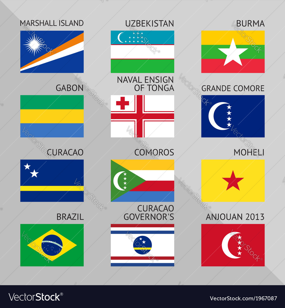Flags of world flat set number 11 vector | Price: 1 Credit (USD $1)