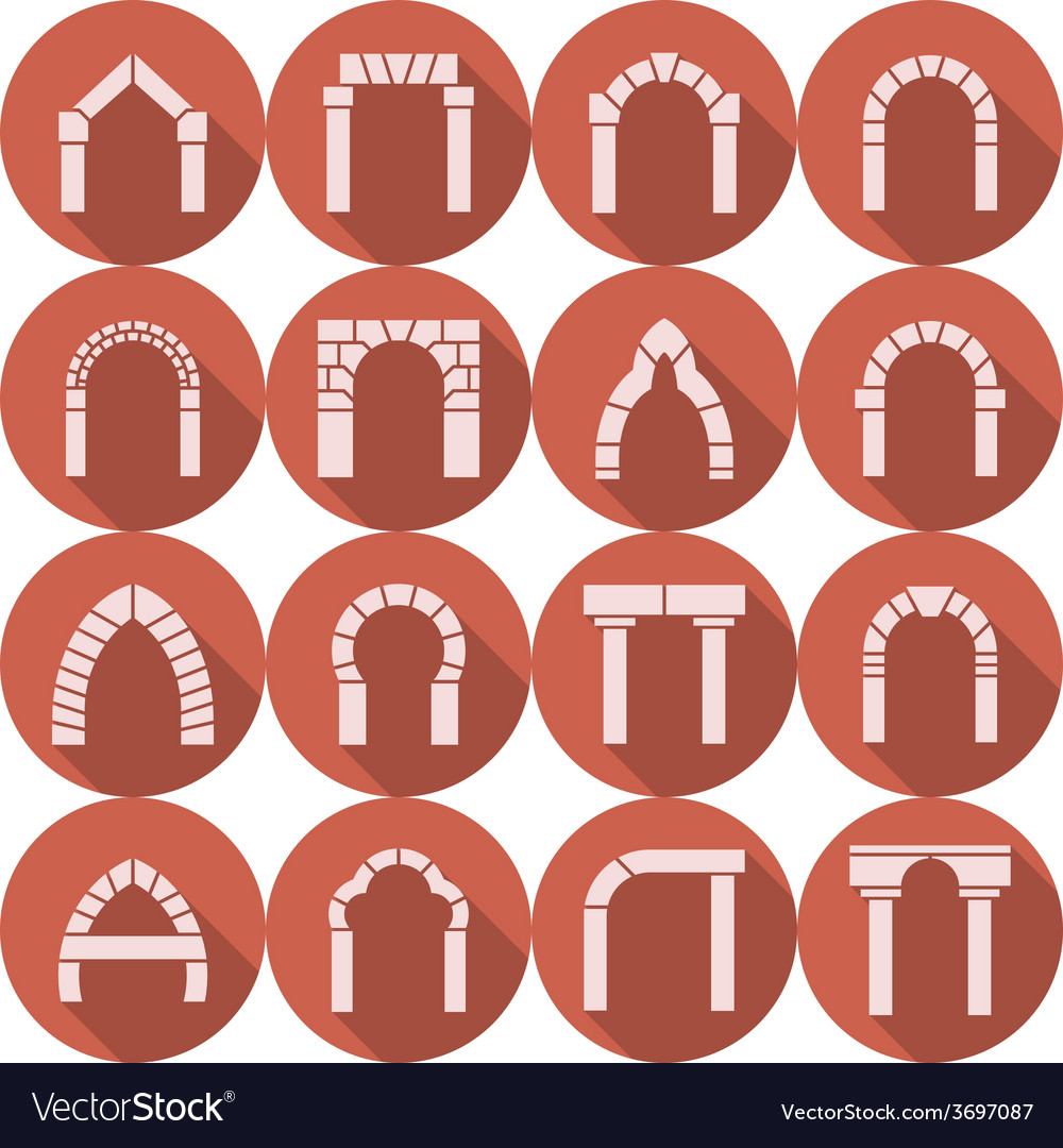Flat icons collection of arch silhouette vector | Price: 1 Credit (USD $1)