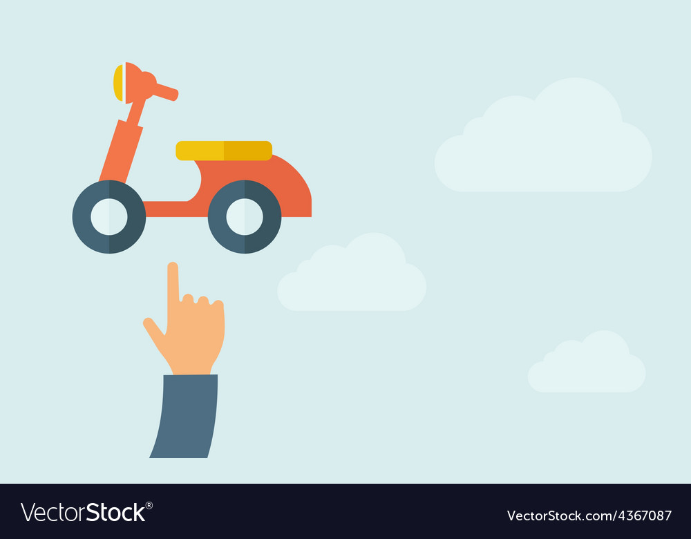 Hand pointing to a motorbike icon vector | Price: 1 Credit (USD $1)
