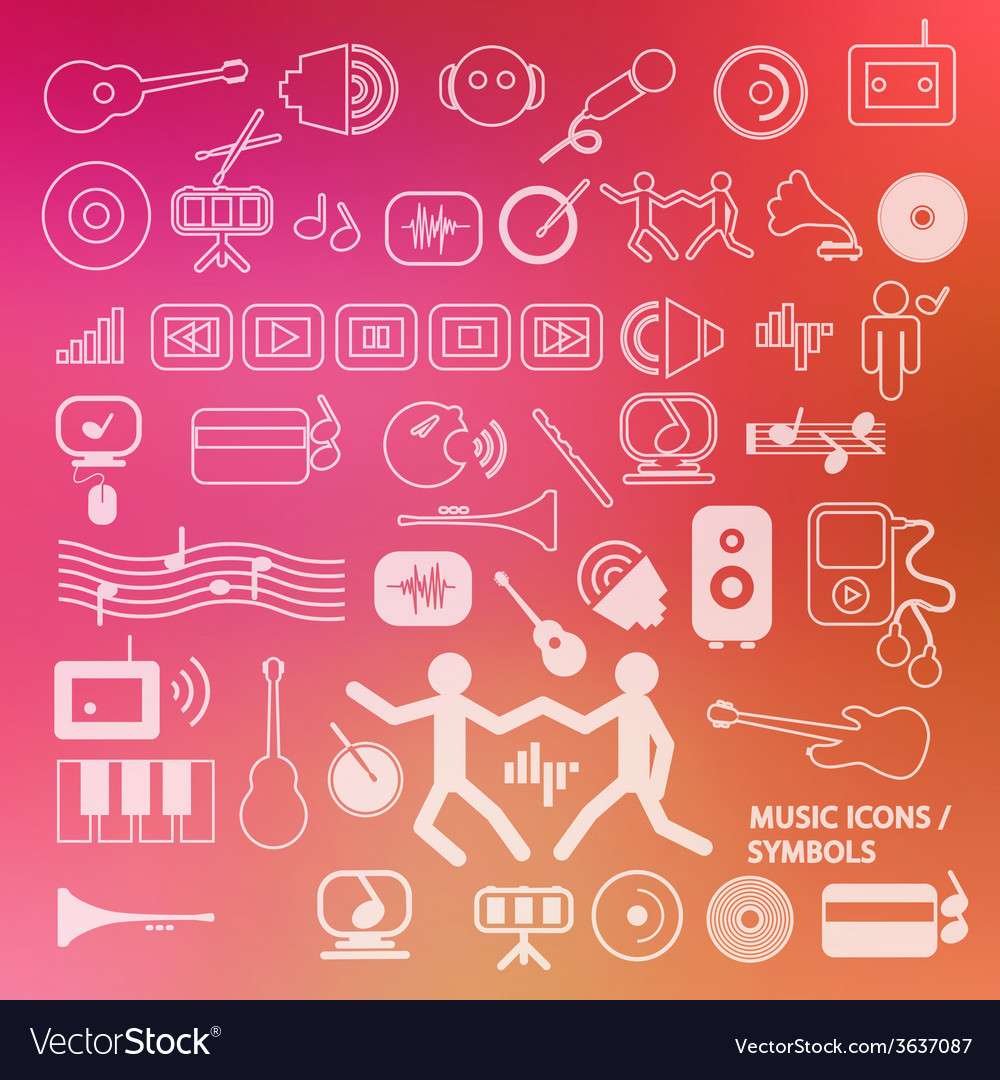Musical icons - symbols on blurred background vector | Price: 1 Credit (USD $1)