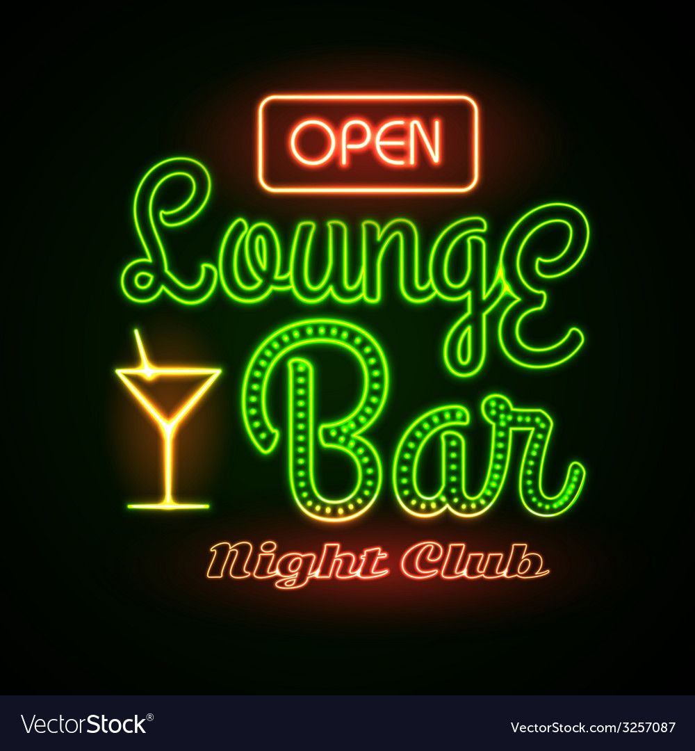 Neon sign lounge bar vector | Price: 1 Credit (USD $1)