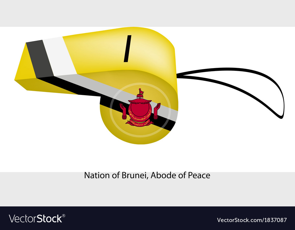 Yellow black and white colors of brunei whistle vector | Price: 1 Credit (USD $1)