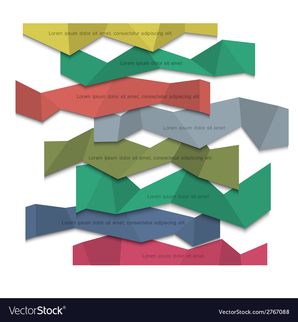 3d colored paper banners origami style vector | Price: 1 Credit (USD $1)