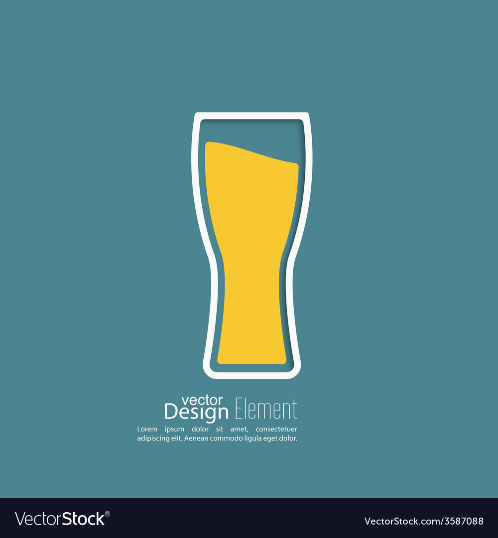Beer glass with yellow liquid vector | Price: 1 Credit (USD $1)