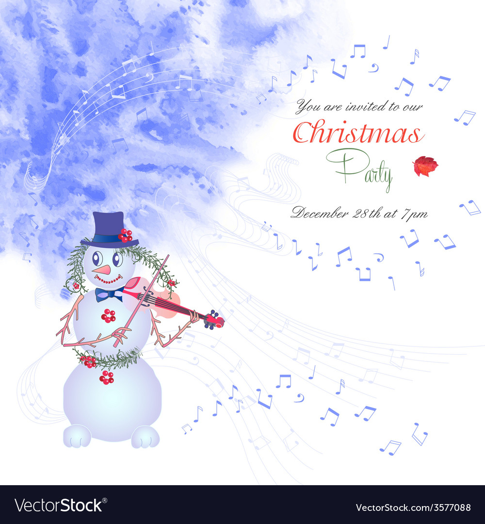 Christmas invitation with snowman vector | Price: 1 Credit (USD $1)