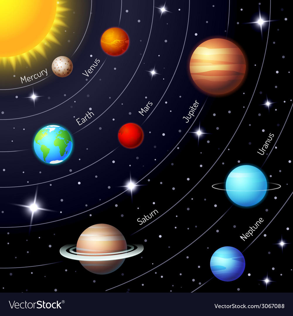 Colorful solar system vector | Price: 1 Credit (USD $1)