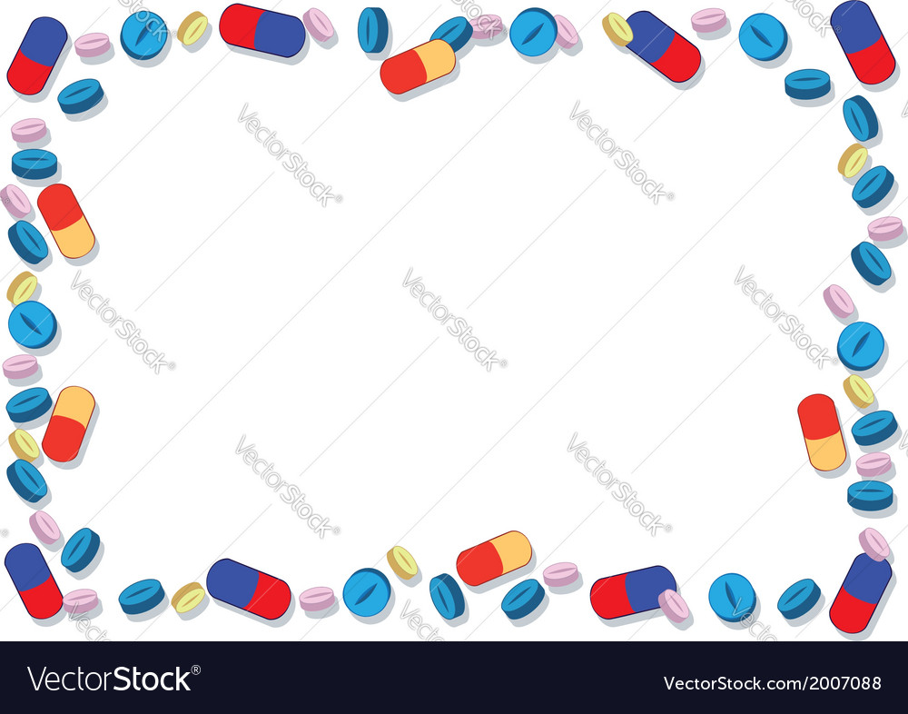 Coloured pills frame vector | Price: 1 Credit (USD $1)