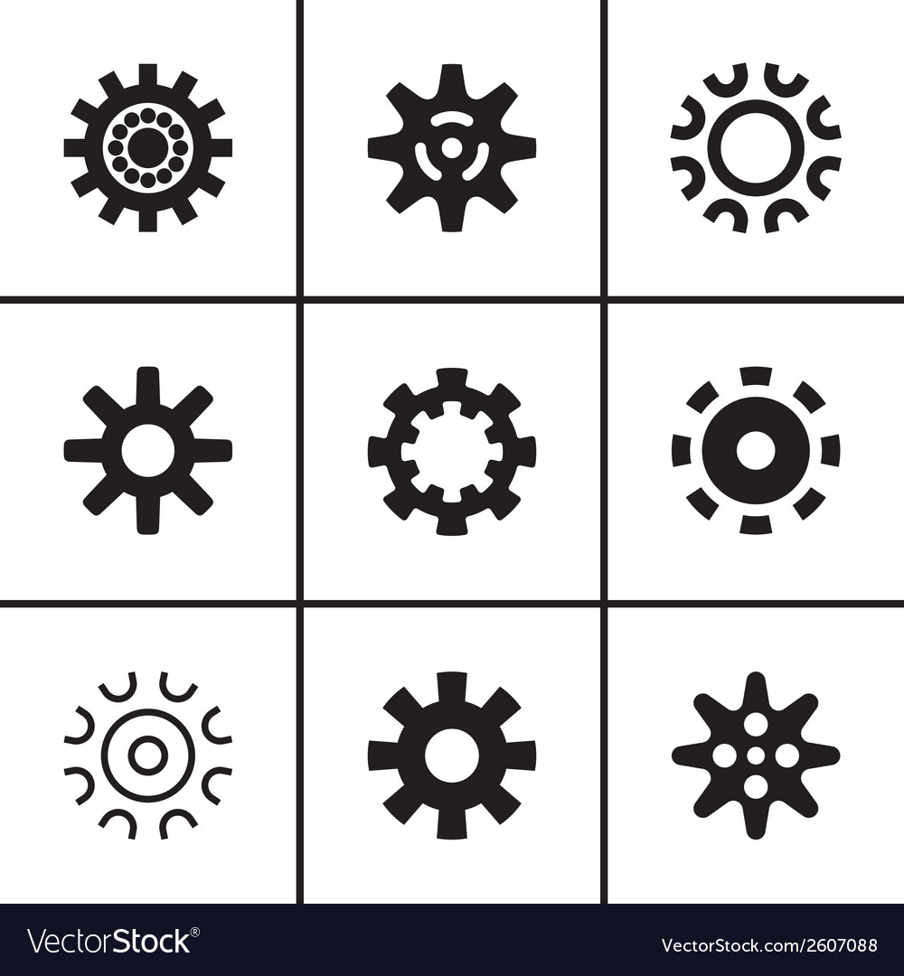 Gears and cogwheel icons set vector | Price: 1 Credit (USD $1)