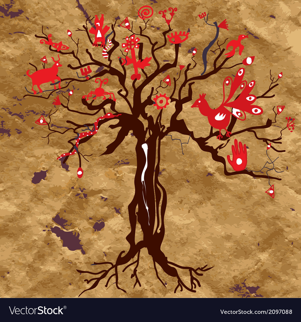 Mystic tree on the paper texture with symbols vector | Price: 1 Credit (USD $1)