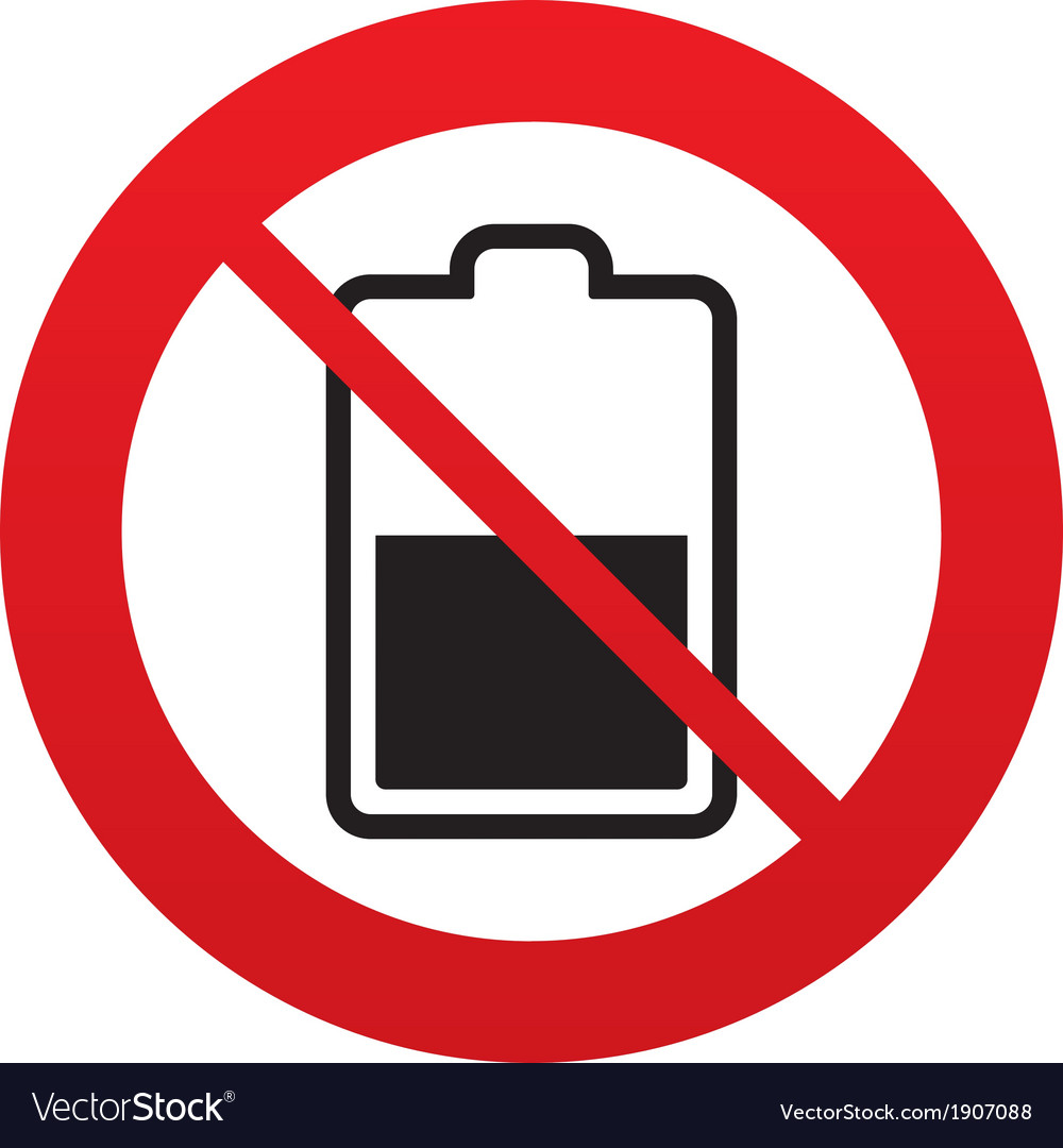 No battery half level sign icon low electricity vector | Price: 1 Credit (USD $1)
