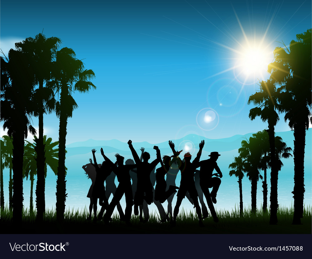Party in tropical landscape 1706 vector | Price: 1 Credit (USD $1)