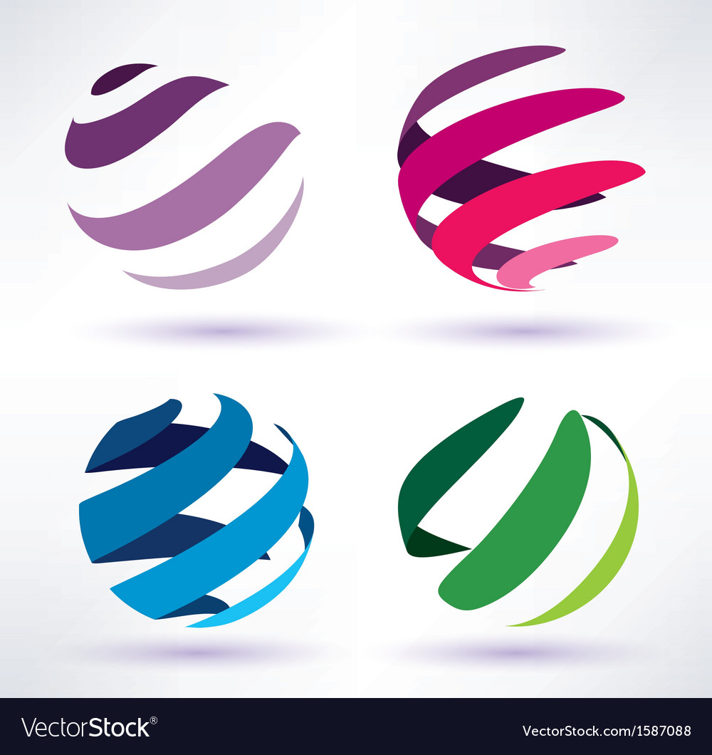 Set of 3d abstract globe icons vector | Price: 1 Credit (USD $1)