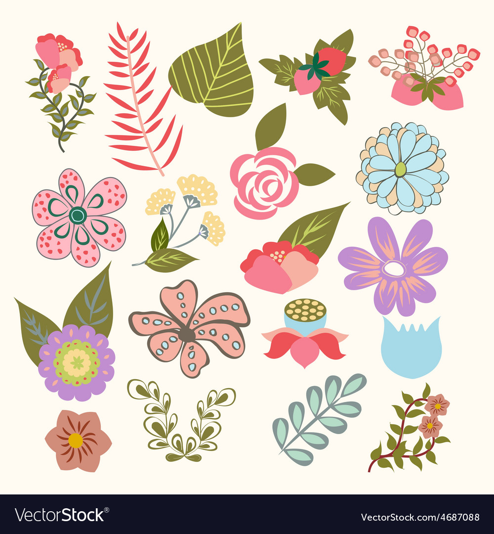 Set of lovely flowers in vintage-style vector | Price: 1 Credit (USD $1)