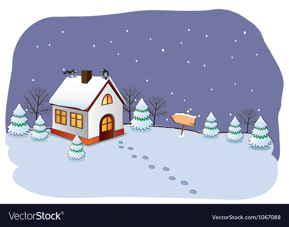 Winter cottage vector | Price: 1 Credit (USD $1)