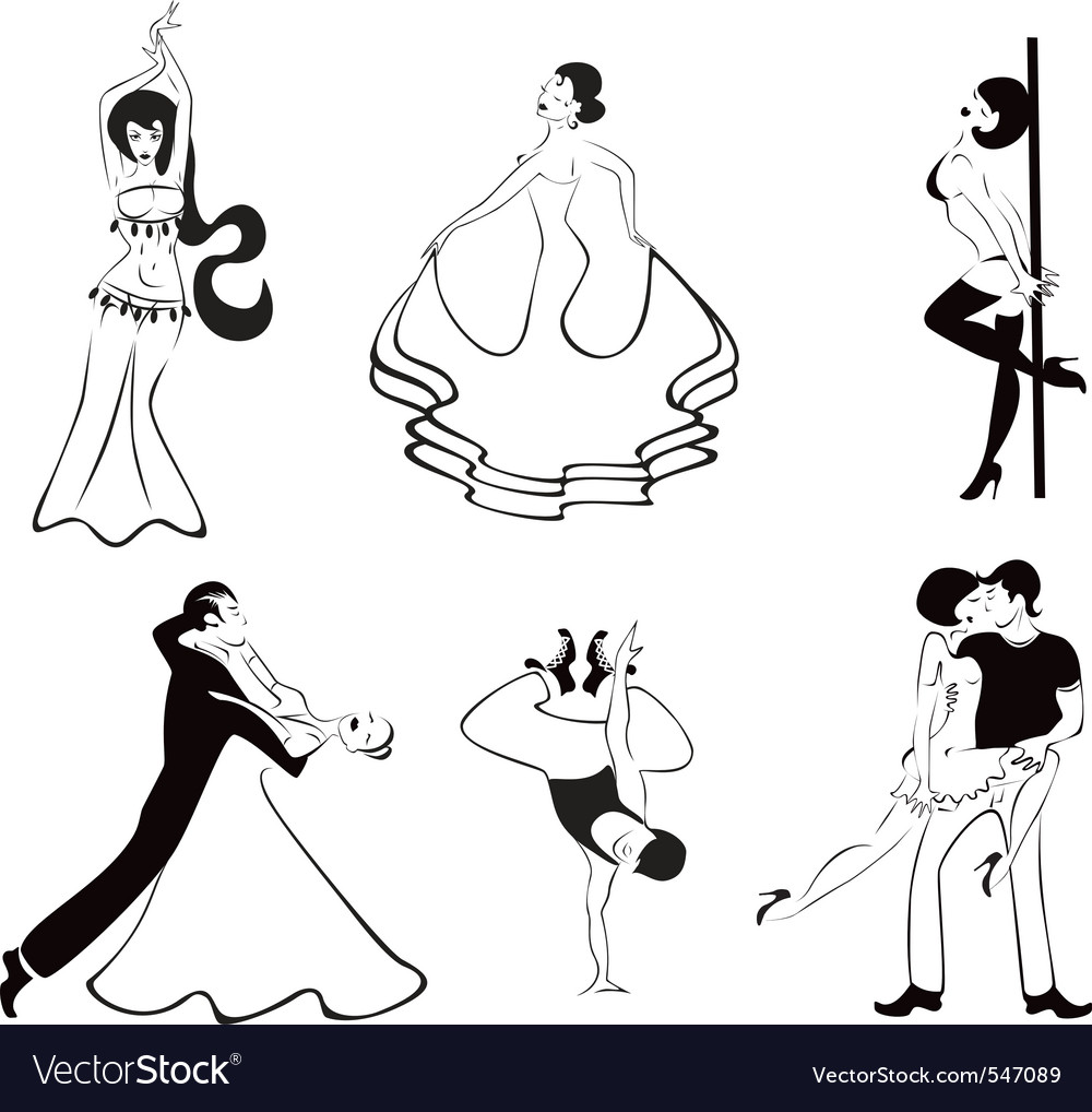 Black and white dancing girls vector | Price: 1 Credit (USD $1)